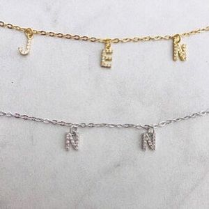 Jewelry - Rhinestone Letter Name Necklace